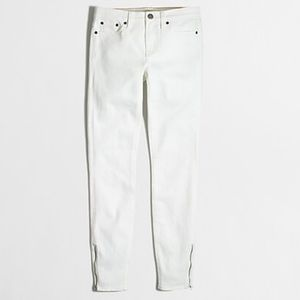 J. Crew Zippered Stretch Ankle White Jeans